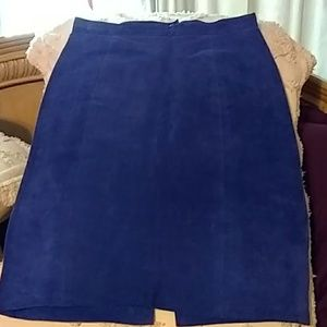 Bright blue suede skirt